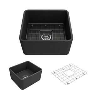 "Bocchi Classico Farmhouse Apron Front Fireclay 20"" Single Bowl Kitchen Sink with Protective Bottom Grid and Strainer 1136-020-0120 Matte Dark Gray"