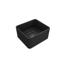 "Load image into Gallery viewer, Bocchi Classico Farmhouse Apron Front Fireclay 20"" Single Bowl Kitchen Sink with Protective Bottom Grid and Strainer 1136-020-0120 Matte Dark Gray"
