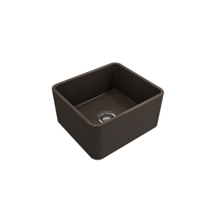 "Bocchi Classico Farmhouse Apron Front Fireclay 20"" Single Bowl Kitchen Sink with Protective Bottom Grid and Strainer 1136-025-0120 Matte Brown"