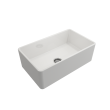 "Load image into Gallery viewer, BOCCHI Classico Farmhouse Apron Front Fireclay 30"" Single Bowl Kitchen Sink with Protective Bottom Grid and Strainer 1138-001-0120 White"