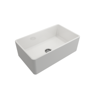 "Classico Farmhouse Apron Front Fireclay 30"" Single Bowl Kitchen Sink with Protective Bottom Grid and Strainer"