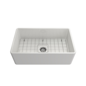 "BOCCHI Classico Farmhouse Apron Front Fireclay 30"" Single Bowl Kitchen Sink with Protective Bottom Grid and Strainer 1138-001-0120 White"