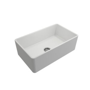 "BOCCHI Classico Farmhouse Apron Front Fireclay 30"" Single Bowl Kitchen Sink with Protective Bottom Grid and Strainer 1138-002-0120 Matte White"