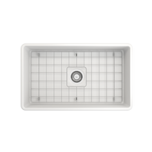 "Load image into Gallery viewer, BOCCHI Classico Farmhouse Apron Front Fireclay 30"" Single Bowl Kitchen Sink with Protective Bottom Grid and Strainer 1138-002-0120 Matte White"