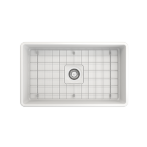 "BOCCHI Classico Farmhouse Apron Front Fireclay 33"" Double Bowl Kitchen Sink with Protective Bottom Grid and Strainer 1139-002-0120 Matte White"