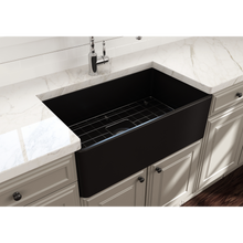 "Load image into Gallery viewer, BOCCHI Classico Farmhouse Apron Front Fireclay 30"" Single Bowl Kitchen Sink with Protective Bottom Grid and Strainer 1138-004-0120 Matte Black"