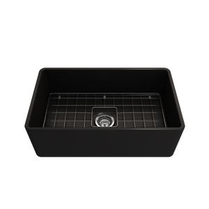 "BOCCHI Classico Farmhouse Apron Front Fireclay 30"" Single Bowl Kitchen Sink with Protective Bottom Grid and Strainer 1138-004-0120 Matte Black"