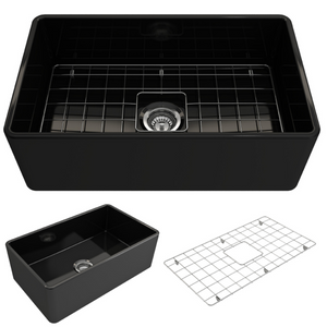"BOCCHI Classico Farmhouse Apron Front Fireclay 30"" Single Bowl Kitchen Sink with Protective Bottom Grid and Strainer 1138-005-0120 Black"
