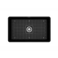 "Load image into Gallery viewer, BOCCHI Classico Farmhouse Apron Front Fireclay 30"" Single Bowl Kitchen Sink with Protective Bottom Grid and Strainer 1138-005-0120 Black"