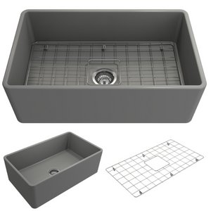 "BOCCHI Classico Farmhouse Apron Front Fireclay 30"" Single Bowl Kitchen Sink with Protective Bottom Grid and Strainer 1138-006-0120 Matte Gray"