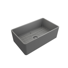 "Load image into Gallery viewer, BOCCHI Classico Farmhouse Apron Front Fireclay 30"" Single Bowl Kitchen Sink with Protective Bottom Grid and Strainer 1138-006-0120 Matte Gray"