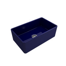 "Load image into Gallery viewer, BOCCHI Classico Farmhouse Apron Front Fireclay 30"" Single Bowl Kitchen Sink with Protective Bottom Grid and Strainer 1138-010-0120 Sapphire Blue"