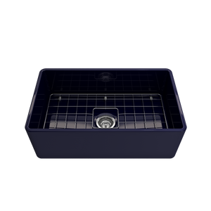 "BOCCHI Classico Farmhouse Apron Front Fireclay 30"" Single Bowl Kitchen Sink with Protective Bottom Grid and Strainer 1138-010-0120 Sapphire Blue"