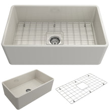 "Load image into Gallery viewer, BOCCHI Classico Farmhouse Apron Front Fireclay 30"" Single Bowl Kitchen Sink with Protective Bottom Grid and Strainer 1138-014-0120 Biscuit"