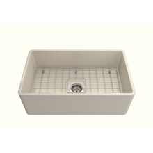 "Load image into Gallery viewer, BOCCHI Classico Farmhouse Apron Front Fireclay 30"" Single Bowl Kitchen Sink with Protective Bottom Grid and Strainer 1138-0**-0120"