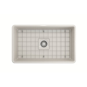"BOCCHI Classico Farmhouse Apron Front Fireclay 30"" Single Bowl Kitchen Sink with Protective Bottom Grid and Strainer 1138-014-0120 Biscuit"