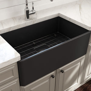 "BOCCHI Classico Farmhouse Apron Front Fireclay 30"" Single Bowl Kitchen Sink with Protective Bottom Grid and Strainer 1138-020-0120 Matte Dark Gray"