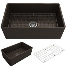 "Load image into Gallery viewer, BOCCHI Classico Farmhouse Apron Front Fireclay 30"" Single Bowl Kitchen Sink with Protective Bottom Grid and Strainer 1138-025-0120 Matte Brown"
