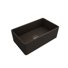 "Load image into Gallery viewer, Classico Farmhouse Apron Front Fireclay 30"" Single Bowl Kitchen Sink with Protective Bottom Grid and Strainer"