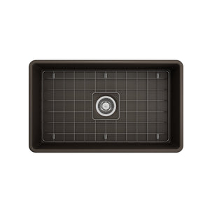 "BOCCHI Classico Farmhouse Apron Front Fireclay 30"" Single Bowl Kitchen Sink with Protective Bottom Grid and Strainer 1138-025-0120 Matte Brown"