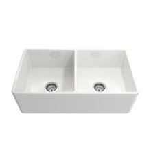 "Load image into Gallery viewer, BOCCHI Classico Farmhouse Apron Front Fireclay 33"" Double Bowl Kitchen Sink with Protective Bottom Grid and Strainer 1139-001-0120 White"