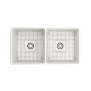 "BOCCHI Classico Farmhouse Apron Front Fireclay 33"" Double Bowl Kitchen Sink with Protective Bottom Grid and Strainer 1139-001-0120 White"