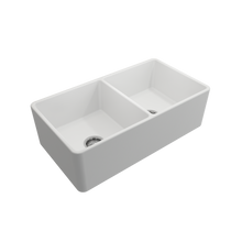 "Load image into Gallery viewer, BOCCHI Classico Farmhouse Apron Front Fireclay 33"" Double Bowl Kitchen Sink with Protective Bottom Grid and Strainer 1139-002-0120 Matte White"