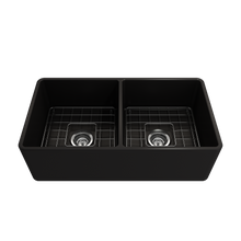 "Load image into Gallery viewer, BOCCHI Classico Farmhouse Apron Front Fireclay 33"" Double Bowl Kitchen Sink with Protective Bottom Grid and Strainer 1139-004-0120 Matte Black"
