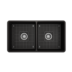 "BOCCHI Classico Farmhouse Apron Front Fireclay 33"" Double Bowl Kitchen Sink with Protective Bottom Grid and Strainer 1139-004-0120 Matte Black"