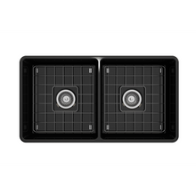 "Load image into Gallery viewer, BOCCHI Classico Farmhouse Apron Front Fireclay 33"" Double Bowl Kitchen Sink with Protective Bottom Grid and Strainer 1139-005-0120 Black"
