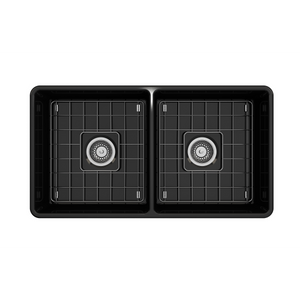 "BOCCHI Classico Farmhouse Apron Front Fireclay 33"" Double Bowl Kitchen Sink with Protective Bottom Grid and Strainer 1139-005-0120 Black"