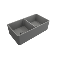 "Load image into Gallery viewer, BOCCHI Classico Farmhouse Apron Front Fireclay 33"" Double Bowl Kitchen Sink with Protective Bottom Grid and Strainer 1139-006-0120 Matte Gray"