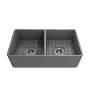 "BOCCHI Classico Farmhouse Apron Front Fireclay 33"" Double Bowl Kitchen Sink with Protective Bottom Grid and Strainer 1139-006-0120 Matte Gray"