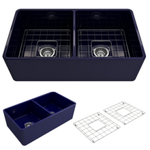 "Load image into Gallery viewer, BOCCHI Classico Farmhouse Apron Front Fireclay 33"" Double Bowl Kitchen Sink with Protective Bottom Grid and Strainer 1139-010-0120 Sapphire Blue"