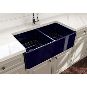 "BOCCHI Classico Farmhouse Apron Front Fireclay 33"" Double Bowl Kitchen Sink with Protective Bottom Grid and Strainer 1139-010-0120 Sapphire Blue"
