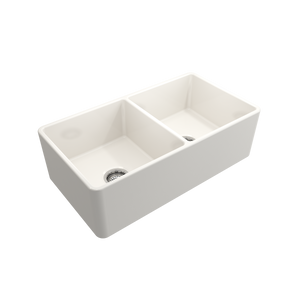 "Classico Farmhouse Apron Front Fireclay 33"" Double Bowl Kitchen Sink with Protective Bottom Grid and Strainer"