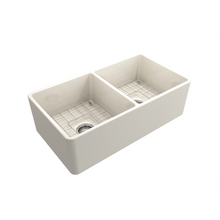 "Load image into Gallery viewer, Classico Farmhouse Apron Front Fireclay 33"" Double Bowl Kitchen Sink with Protective Bottom Grid and Strainer"