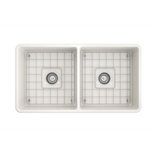 "Load image into Gallery viewer, BOCCHI Classico Farmhouse Apron Front Fireclay 33"" Double Bowl Kitchen Sink with Protective Bottom Grid and Strainer 1139-014-0120 Biscuit"