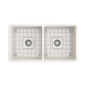 "BOCCHI Classico Farmhouse Apron Front Fireclay 33"" Double Bowl Kitchen Sink with Protective Bottom Grid and Strainer 1139-014-0120 Biscuit"