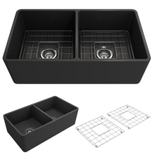 "Load image into Gallery viewer, BOCCHI Classico Farmhouse Apron Front Fireclay 33"" Double Bowl Kitchen Sink with Protective Bottom Grid and Strainer 1139-020-0120 Matte Dark Gray"
