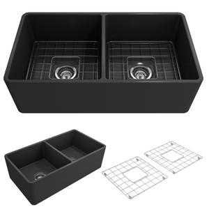 "BOCCHI Classico Farmhouse Apron Front Fireclay 33"" Double Bowl Kitchen Sink with Protective Bottom Grid and Strainer 1139-020-0120 Matte Dark Gray"