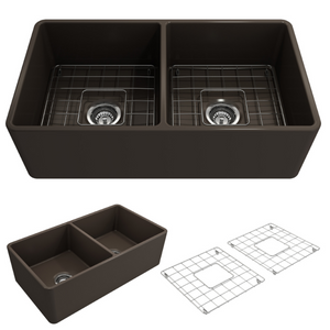 "BOCCHI Classico Farmhouse Apron Front Fireclay 33"" Double Bowl Kitchen Sink with Protective Bottom Grid and Strainer 1139-025-0120 Matte Brown"