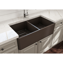 "Load image into Gallery viewer, BOCCHI Classico Farmhouse Apron Front Fireclay 33"" Double Bowl Kitchen Sink with Protective Bottom Grid and Strainer 1139-025-0120 Matte Brown"