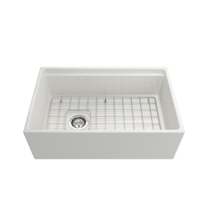"BOCCHI Contempo Apron Front Workstation Step Rim Fireclay 30"" Single Bowl Kitchen Sink with Protective Bottom Grid and Strainer 1344-001-0120 White"
