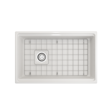 "Load image into Gallery viewer, BOCCHI Contempo Apron Front Workstation Step Rim Fireclay 30"" Single Bowl Kitchen Sink with Protective Bottom Grid and Strainer 1344-001-0120 White"