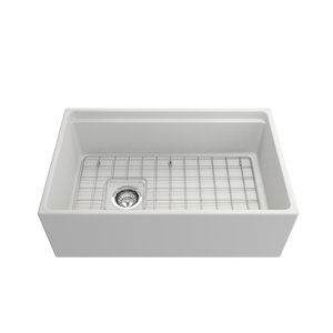 "BOCCHI Contempo Apron Front Workstation Step Rim Fireclay 30"" Single Bowl Kitchen Sink with Protective Bottom Grid and Strainer 1344-002-0120 Matte White"