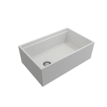 "Load image into Gallery viewer, BOCCHI Contempo Apron Front Workstation Step Rim Fireclay 30"" Single Bowl Kitchen Sink with Protective Bottom Grid and Strainer 1344-002-0120 Matte White"