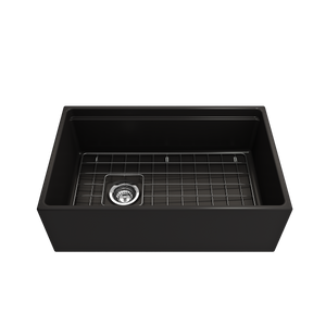 "BOCCHI Contempo Apron Front Workstation Step Rim Fireclay 30"" Single Bowl Kitchen Sink with Protective Bottom Grid and Strainer 1344-004-0120 Matte Black"