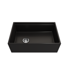 "Load image into Gallery viewer, BOCCHI Contempo Apron Front Workstation Step Rim Fireclay 30"" Single Bowl Kitchen Sink with Protective Bottom Grid and Strainer 1344-004-0120 Matte Black"