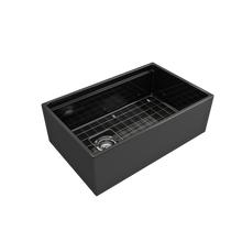 "Load image into Gallery viewer, BOCCHI Contempo Apron Front Workstation Step Rim Fireclay 30"" Single Bowl Kitchen Sink with Protective Bottom Grid and Strainer 1344-005-0120 Black"